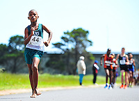 CAPE TOWN, SOUTH AFRICA - OCTOBER 10: Durando Aweries (12) of South Western Districts (SWD), barefoot, in the sub youth boys 3km during the South African Race Walking Championship at Youngsfield Military Base on October 10, 2015 in Cape Town, South Africa. (Photo by Roger Sedres/ImageSA)