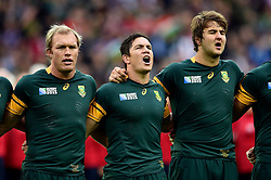 Schalk Burger, Francois Louw and Lodewyk De Jager of South Africa sing their national anthem - Mandatory byline: Patrick Khachfe/JMP - 07966 386802 - 07/10/2015 - RUGBY UNION - The Stadium, Queen Elizabeth Olympic Park - London, England - South Africa v USA - Rugby World Cup 2015 Pool B.