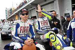 17.07.2010, Sachsenring, GER, MotoGP, Deutschland Grand Prix 2010, im Bild J. Lorenzo and Valentino Rossi - Fiat Yamaha team. EXPA Pictures © 2010, PhotoCredit: EXPA/ InsideFoto/ Semedia +++ ATTENTION - FOR AUSTRIA AND SLOVENIA CLIENT ONLY +++ / SPORTIDA PHOTO AGENCY