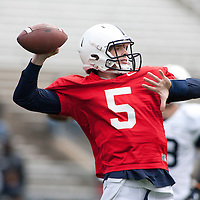 Penn State quarterback Tyler Ferguson #5 warms up before the annual Blue/White game on April 20, 2013 at Beaver Stadium in University Park, Pa.