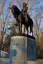 Statue and monument to General Nathanial Greene, who fought in the Revolutionary War, Guilford Courthouse National Military Park, north of Greensboro, North Carolina, March 8, 2008.