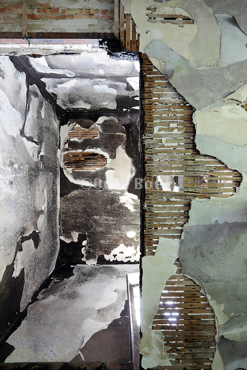 looking up to a burned out  room in a house