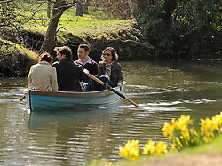 © Licensed to London News Pictures. 11/03/2012. Oxford, UK. A family enjoy a boat ride. People enjoy the early morning sunshine on the River Cherwell in Oxford today 11 March 2012. Photo credit : Stephen SImpson/LNP