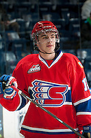 KELOWNA, CANADA - MARCH 5: Markson Bechtold #12 of the Spokane Chiefs warms up against the Kelowna Rockets on March 5, 2014 at Prospera Place in Kelowna, British Columbia, Canada.   (Photo by Marissa Baecker/Getty Images)  *** Local Caption *** Markson Bechtold;