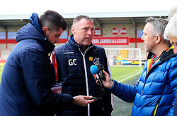 Bristol Rovers manager Graham Coughlan is interviewed before the match at Highbury Stadium - Mandatory by-line: Matt McNulty/JMP - 27/04/2019 - FOOTBALL - Highbury Stadium - Fleetwood, England - Fleetwood Town v Bristol Rovers - Sky Bet League One