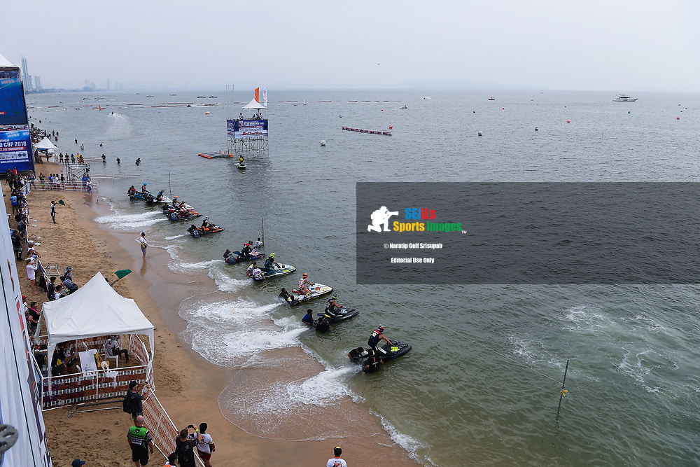 PATTAYA, THAILAND - DECEMBER 09: The start of the Pro Sport GP Moto4 at the Thai Airways International Jet Ski World Cup 2018, Jomtien Beach, Pattaya, Thailand on December 09, 2018. <br /> .<br /> .<br /> .<br /> (Photo by: Naratip Golf Srisupab/SEALs Sports Images)<br /> .<br /> Any image use must include a mandatory credit line adjacent to the content which should read: Naratip Golf Srisupab/SEALs Sports Images