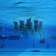 The team from Spain competes during the Synchronized Swimming team technical routine at the Aquatics Centre, Olympic Park, during the London 2012 Olympic games. London, UK. 9th August 2012. Photo Tim Clayton