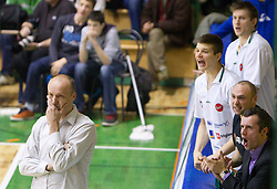 Head coach of Olimpija Jure Zdovc, Dino Muric, Vladimer Boisa, Goran Ostojic and Miro Alilovic of Olimpija during basketball match between KK Krka (SLO) and Union Olimpija (SLO) in 16th Round of NLB Adriatic League, on January 11, 2011 in Arena Leona Stuklja, Novo mesto, Slovenia. (Photo By Vid Ponikvar / Sportida.com)