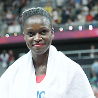 30 July 2012: Emilie Gomis of France is seen following the 74-70 Team France overtime victory over Team Australia, during the women's basketball preliminary, at the Basketball Arena, in London, Great Britain.