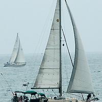 Aboat sails in Santa Monica Bay on Friday, June 24, 2011.
