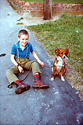 Neville and dog. Hawthorne Road, High Wycombe, UK, 1980s.
