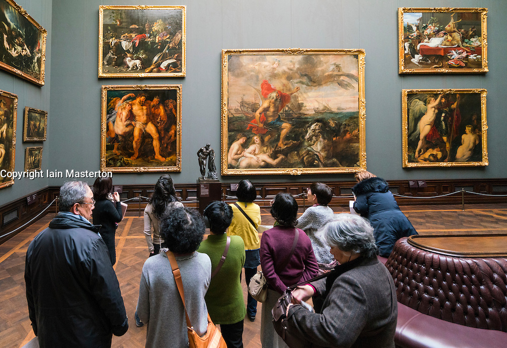 Japanese tour group in paintings gallery at Gemäldegalerie Alte Meister or Zwinger Museum in Dresden, Germany .Editorial Use Only.
