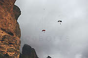 Leo Houlding and Carlos Suarez prepare his Asgard Proyect film in Los Mallos de Riglos walls and base jump from the top