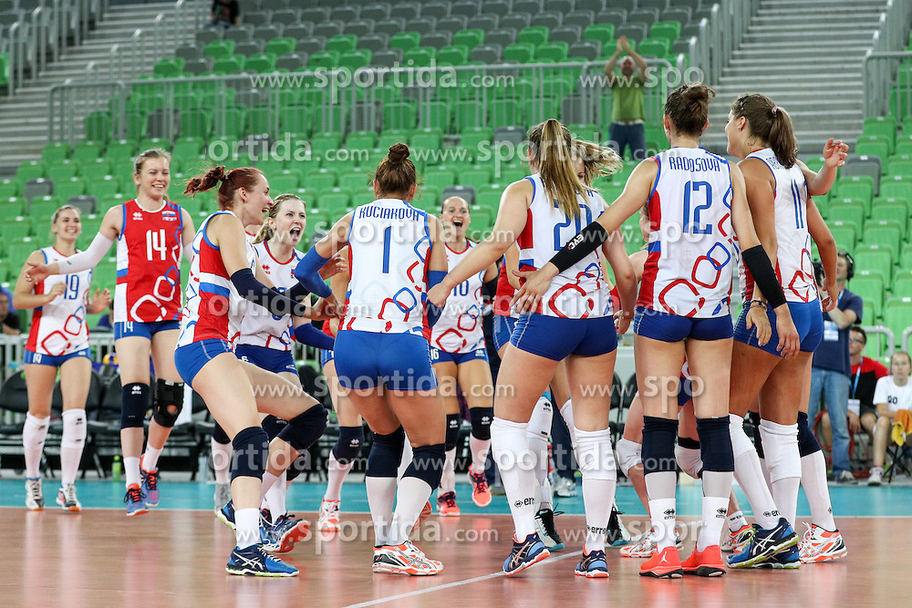 Players of Slovakia celebrate during volleyball match between Slovenia and Slovakia in CEV European League Women on June 22, 2016 in Stozice, Ljubljana, Slovenia. Photo by Morgan Kristan / Sportida