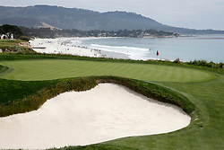 June 11, 2019 - Pebble Beach, CA, U.S. - PEBBLE BEACH, CA - JUNE 11:  A general scenic view of the 9th hole taken during the practice round for the 2019 US Open on June 11, 2019, at Pebble Beach Golf Links in Pebble Beach, CA. (Photo by Brian Spurlock/Icon Sportswire) (Credit Image: © Brian Spurlock/Icon SMI via ZUMA Press)