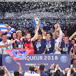 (R-L) Winning captain Thiago Silva of PSG lifts the trophy with his opposition captain Sebastein Flochon of Les Herbiers following the French Cup Final between Les Herbiers and Paris Saint Germain at Stade de France on May 8, 2018 in Paris, France. (Photo by Dave Winter/Icon Sport)