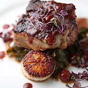 The pork belly and scallops Tuesday, March 25, 2014 at Bow &amp; Stern. (Brian Cassella/Chicago Tribune) B583620020Z.1 <br /> ....OUTSIDE TRIBUNE CO.- NO MAGS,  NO SALES, NO INTERNET, NO TV, CHICAGO OUT, NO DIGITAL MANIPULATION...