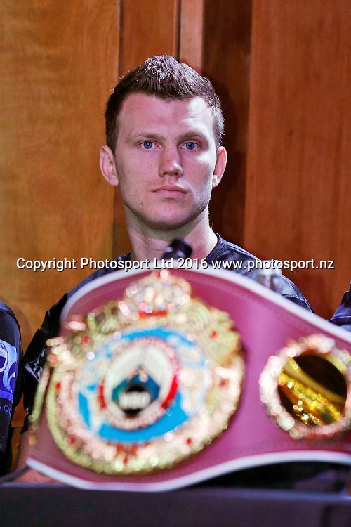 Jeff Horn, Final press conference before the December 10, Parker v Ruiz, WBO world boxing heavyweight title fight. Rec Bar, Auckland. 8 December 2016 / www.photosport.nz