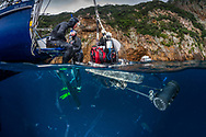 Here's a fairly rare image of my split-level rig with an Isotta underwater housing for a nikon D810,  piggy backed on to the dome, showing quick release flotation devices.  Its a rather large beast which weighs over 25kg. Its a bit of a grab shot as I was getting ready to do some split level images at the Poor Knights islands.
