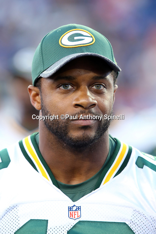 Green Bay Packers wide receiver Randall Cobb (18) looks on before the 2016 NFL Pro Football Hall of Fame preseason football game against the Indianapolis Colts on Sunday, Aug. 7, 2016 in Canton, Ohio. The game was canceled for player safety reasons due to the condition of the paint on the turf field. (©Paul Anthony Spinelli)