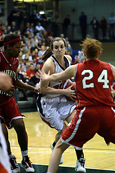 20 March 2010: Meredith Kussmaul turns inward guarded by Jaimie McFarlin and Zoe Unruh. The Flying Dutch of Hope College fall to the Bears of Washington University 65-59 in the Championship Game of the Division 3 Women's NCAA Basketball Championship the at the Shirk Center at Illinois Wesleyan in Bloomington Illinois.