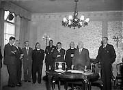 06/02/1957<br /> 02/06/1957<br /> 06 February 1957<br /> <br /> Aer Lingus Special - Signing Agreement re. Pilgrimage to Lourdes