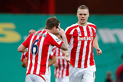 Ryan Shawcross of Stoke City celebrates with Glenn Whelan after scoring a goal to make it 1-0 - Photo mandatory by-line: Rogan Thomson/JMP - 07966 386802 - 01/01/2015 - SPORT - FOOTBALL - Stoke-on-Trent, England - Britannia Stadium - Stoke City v Manchester United - New Year's Day Football - Barclays Premier League.