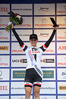 Leah Kirchmann of Team Sunweb celebrates winning the sprint in the Prudential RideLondon Classique from the podium 29/07/2017<br /> <br /> Photo: Tom Lovelock/Silverhub for Prudential RideLondon<br /> <br /> Prudential RideLondon is the world&rsquo;s greatest festival of cycling, involving 100,000+ cyclists &ndash; from Olympic champions to a free family fun ride - riding in events over closed roads in London and Surrey over the weekend of 28th to 30th July 2017. <br /> <br /> See www.PrudentialRideLondon.co.uk for more.<br /> <br /> For further information: media@londonmarathonevents.co.uk
