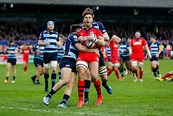 Bristol Rugby Inside Centre Ben Mosses is tackled - Mandatory byline: Rogan Thomson/JMP - 19/12/2015 - RUGBY UNION - Goldington Road - Bedford, England - Bedford Blues v Bristol Rugby - B&I Cup.