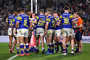 The Leeds Rhinos team talk during the Betfred Super League match between Hull FC and Leeds Rhinos at Kingston Communications Stadium, Hull, United Kingdom on 19 April 2018. Picture by Mick Atkins.