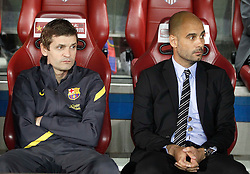 25.05.2012, Vicente Calderon Stadion, Madrid, ESP, Kings Cup Finale, FC Barcelona vs Athletic Bilbao, im Bild Barcelona's coach Pep Guardiola and Tito Vilanova // during the Spanish Kings Cup final match between Fc Barcelona and Athletic Bilbao at the Vicente Calderon Stadium, Madrid, Spain on 2012/05/25. EXPA Pictures © 2012, PhotoCredit: EXPA/ Alterphotos/ Alvaro Hernandez..***** ATTENTION - OUT OF ESP and SUI *****