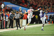 TCU Horned Frogs safety Derrick Kindred (26) intercepts a pass thrown to Ole Miss tight end Evan Engram (17) in the Peach Bowl, in Atlanta, Ga. on Wednesday, December 31, 2014.