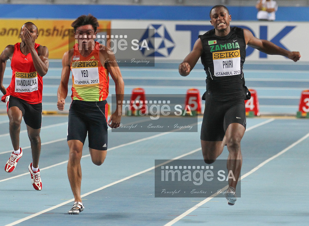 ISTANBUL, TURKEY: Friday 9 March 2012, Gerald Phiri -ZAM- of Zambia grimaces with pain after injuring his leg in the mens 60m sprint during the evening session of Day 1 at the IAAF World Indoor Championships being held at the Atakoy Athletics Arena in Istanbul..Photo by Roger Sedres-ImageSA