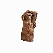 Terra Cotta female figurine. She is depicted carrying her childrn on her shoulder