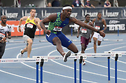Jul 25, 2019; Des Moines, IA, USA; Rai Benjamin wins 400m hurdles heat in 49.61 for the top time  during the USATF Championships at Drake Stadium.