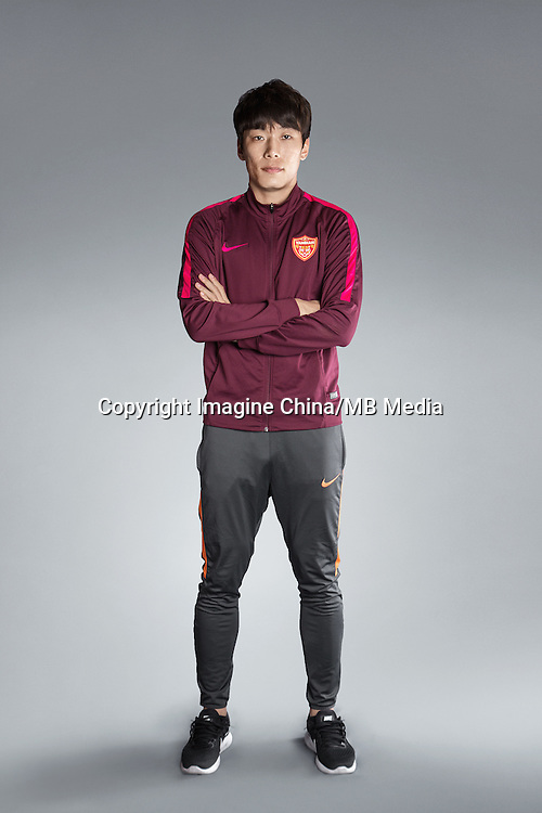 Portrait of Chinese soccer player Jin Hongyu of Yanbian Funde F.C. for the 2017 Chinese Football Association Super League, in Namhae County, South Gyeongsang Province, South Korea, 11 February 2017.