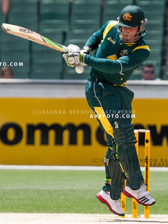 Phil Hughes attempts to play a pull shot while  batting during game 1 of the Commonwealth Bank Series Australia v Sri Lanka played at the Melbourne Cricket Ground in Melbourne,Victoria, Australia. Photo Asanka Brendon Ratnayake