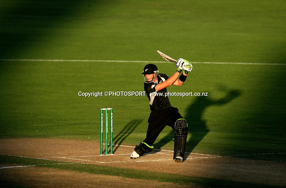 Martin Guptil plays a shot in the last of the sunlight.  New Zealand Black Caps v Australia. 1st ODI, Chappell-Hadlee Trophy Series. McLean Park, Napier. Wednesday 03 March 2010  Photo: John Cowpland/PHOTOSPORT