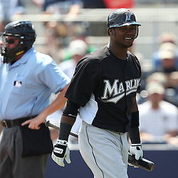 March 15, 2011; Port Charlotte, FL, USA; Florida Marlins shortstop Hanley Ramirez (2) reacts after striking out during a spring training exhibition game against the Tampa Bay Rays at Charlotte Sports Park.   Mandatory Credit: Derick E. Hingle
