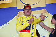 Podium, Greg Van Avermaet (BEL - BMC) Yellow jersey during the 105th Tour de France 2018, Stage 6, Brest - Mur de Bretagne Guerledan (181km) in France on July 12th, 2018 - Photo Luca Bettini / BettiniPhoto / ProSportsImages / DPPI