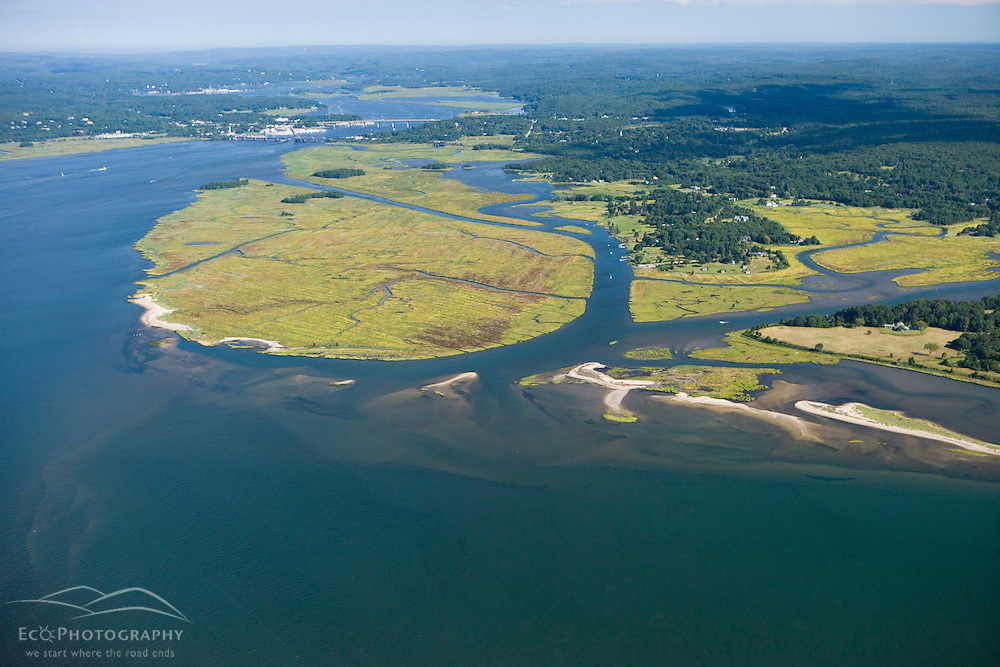 The mouth of the Connecticut River in Old Lyme, Connecticut.  Griswold Point.  Long Island Sound.