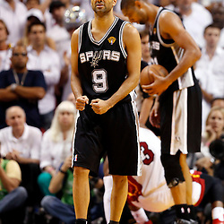 Jun 18, 2013; Miami, FL, USA; San Antonio Spurs point guard Tony Parker (9) reacts during the fourth quarter of game six in the 2013 NBA Finals against the Miami Heat at American Airlines Arena.  Mandatory Credit: Derick E. Hingle-USA TODAY Sports