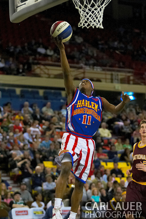 04 May 2006: Keiron 'Sweet P' Shine goes for two during the Harlem Globetrotters vs the New York Nationals at the Sulivan Arena in Anchorage Alaska during their 80th Anniversary World Tour.  This is the first time in 10 years that the Trotters have visited Alaska.