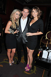 Left to right, OLA JORDAN, NICK CANDY and ALEX JONES at the 39th birthday party for Nick Candy in association with Ciroc Vodka held at 5 Cavindish Square, London on 21st Januatu 2012.