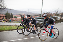 Krista Doebel-Hickok (USA) of Cylance Pro Cycling and Elinor Barker (GBR) of Wiggle Hi5 Cycling Team descends during  the Trofeo Alfredo Binda - a 131,1 km road race, between Taino and Cittiglio on March 18, 2018, in Varese, Italy. (Photo by Balint Hamvas/Velofocus.com)