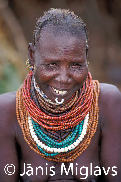 A Bume woman in her village in the Omo region of Ethiopia, Africa