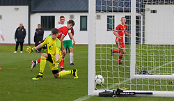 WREXHAM, WALES - Wednesday, October 30, 2019: Wales' Christopher Popov scores the third goal during the 2019 Victory Shield match between Wales and Republic of Ireland at Colliers Park. (Pic by David Rawcliffe/Propaganda)