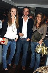 Left to right, BRYONY DANIELS, CHARLIE GILKES and STEPHANIE COATEN at the launch of a new bar Bardo, 101-105 Walton Street, London SW3 on 29th November 2005.<br />