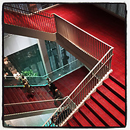 2018 AUGUST 15 - Stairway in Marion Oliver McCaw Hall in Seattle, WA, USA. Taken/edited with Instagram App for iPhone. By Richard Walker