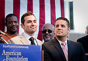 Paul Katami and Jeffrey Zarrilo, one of the Gay couples and plaintiffs against Prop. 8, shows their support for Gay Marriage at a rally after Prop. 8 was overturned.